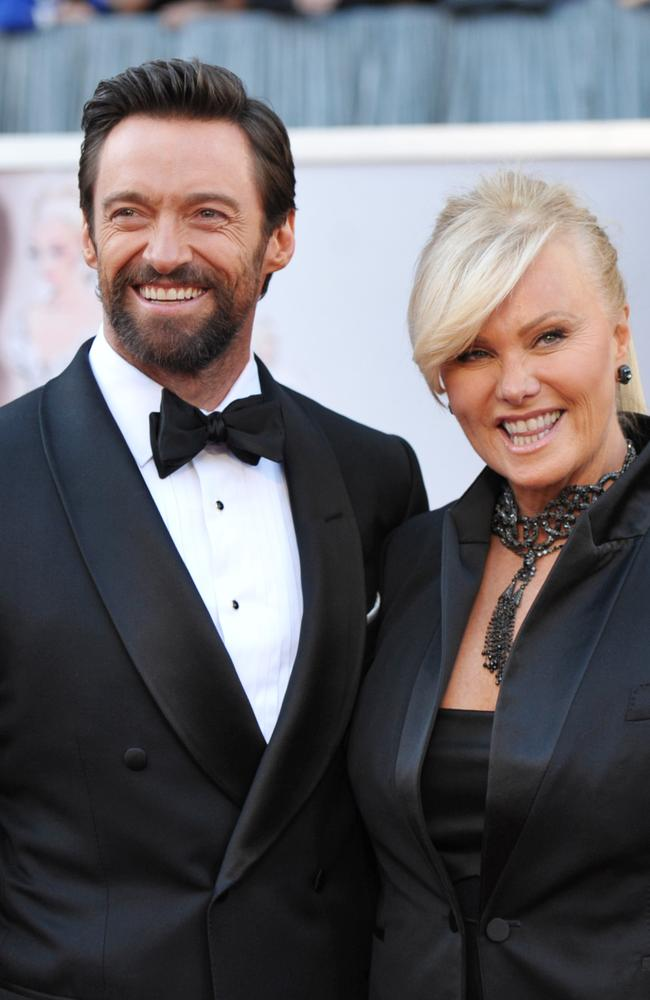 Hugh Jackman and Deborra-Lee Furness at the Oscars, 2013. Picture: AP