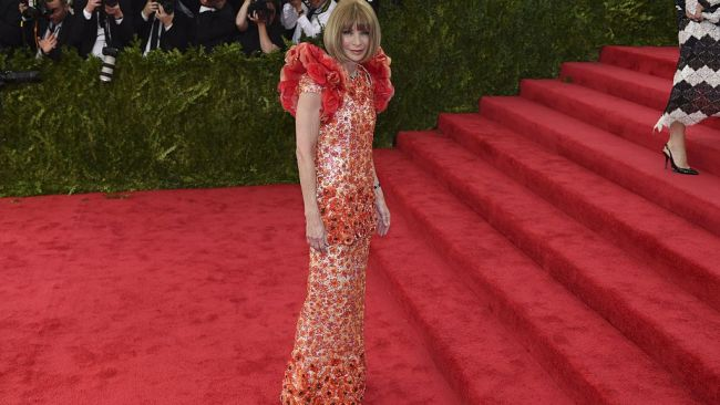 Anna Wintour arrives the the 2015 Met Ball. Image: AFP