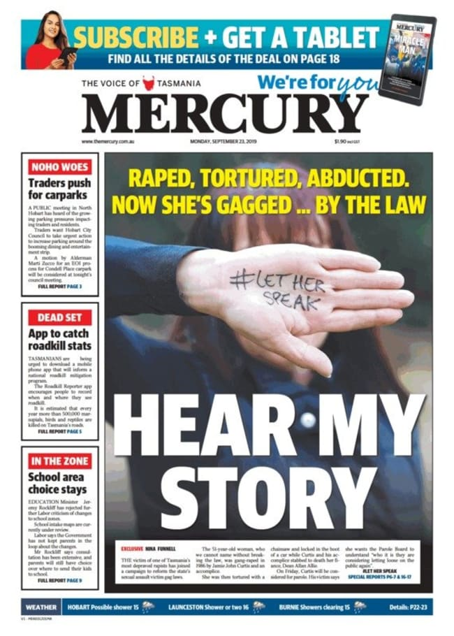 Tameka's front page story in the Hobart Mercury. Picture: Supplied