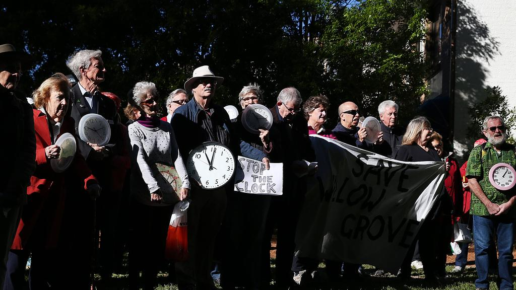 North Parramatta Residents' Action Group members at Willow Grove last July protest against demolishing Willow Grove. Picture: Danny Aarons
