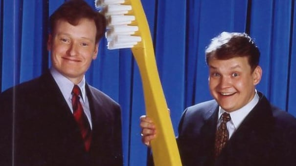 An early photo of Conan O'Brien and his sidekick, Andy Richter. Picture: James Sorensen