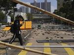 Roads were scattered with bricks and barricades by pro-democracy protesters in Hong Kong.