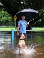 Muttley the dog enjoys running through the puddles at Goomboora Park with owner Simon Boyd. PICTURE: ANNA ROGERS
