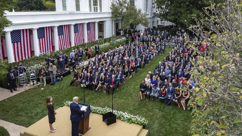 The September 26 ceremony in which President Trump nominated Judge Amy Coney Barrett in the Rose Garden of the White House. Picture: Amy Rossetti