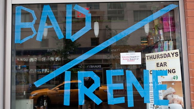 """Bad Irene"" is written in tape in a window of Serenity Spa in New York City. Picture: AFP"