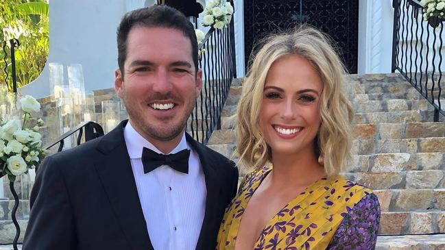 Peter Stefanovic and Sylvia Jeffreys at Karl Stefanovic and Jasmine Yarbrough's wedding in Cabo, Mexico in December.