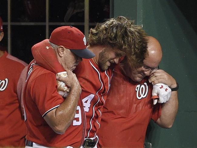 Bryce Harper had to be carried off.
