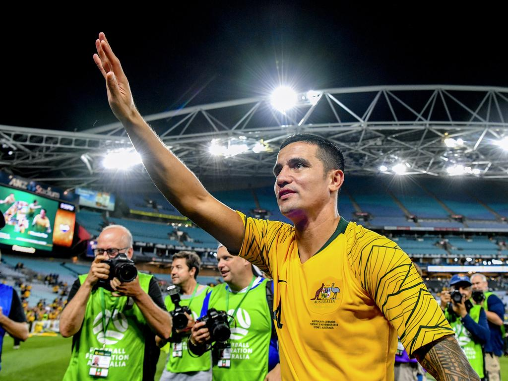 Tim Cahill of Australia thanks football fans after the International friendly match between Australia and Lebanon at ANZ Stadium in Sydney, Tuesday, November 20, 2018. (AAP Image/Brendan Esposito) NO ARCHIVING, EDITORIAL USE ONLY