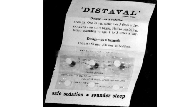 Thalidomide, marketed under the name Distaval. drug taken for morning sickness in pregnant women found to cause severe deformities in babies. Image: News Corp.