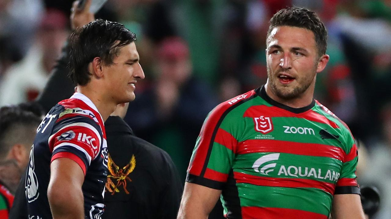 Roosters rookie Billy Smith and Sam Burgess.