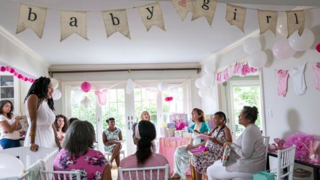 Jessica James at a baby shower is all of us. Photo: Netflix