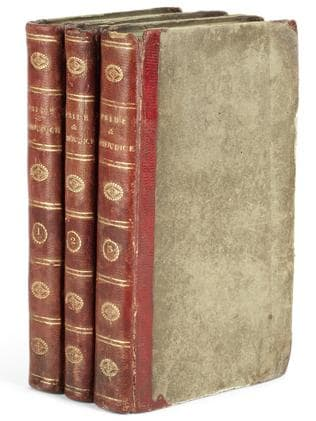 The first edition of Pride And Prejudice in three volumes which is going under the hammer on November 27. Picture: Bonhams