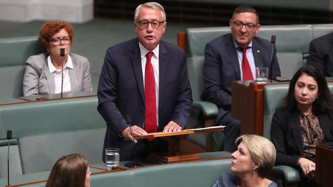 Wayne Swan delivering his valedictory speech. Picture: Kym Smith
