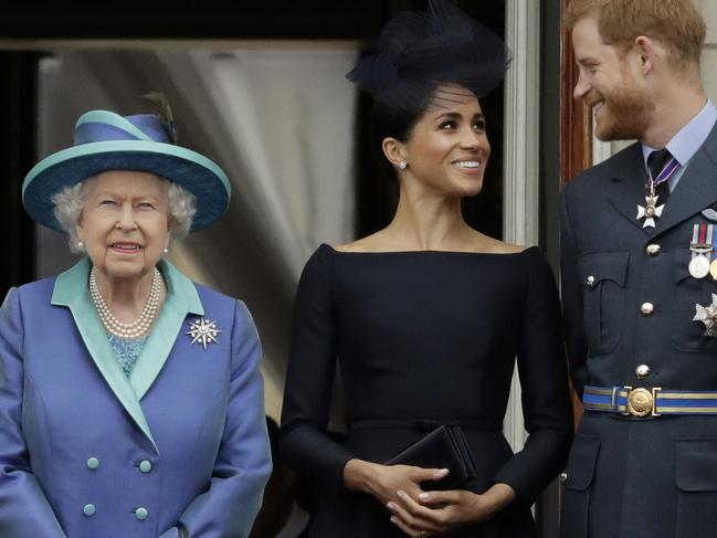 The Queen and the Canada-bound Duke and Duchess of Sussex. Picture: AP