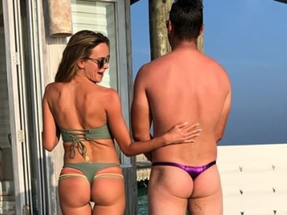 Brooks Koepka and his girlfriend on holidays last year.