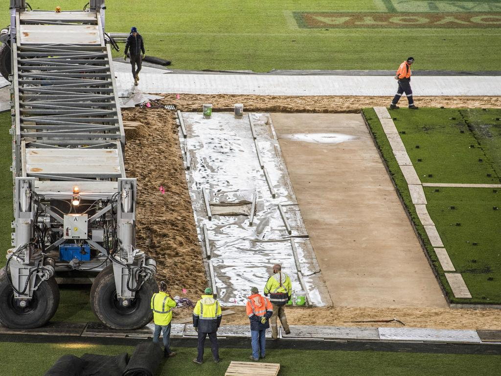 MCG drop-in pitches put in place on Wednesday night.