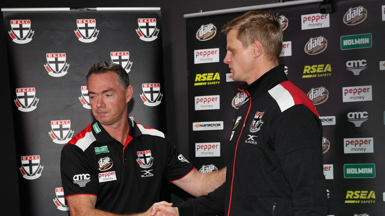 Alan Richardson and Nick Riewoldt at a press conference last year.
