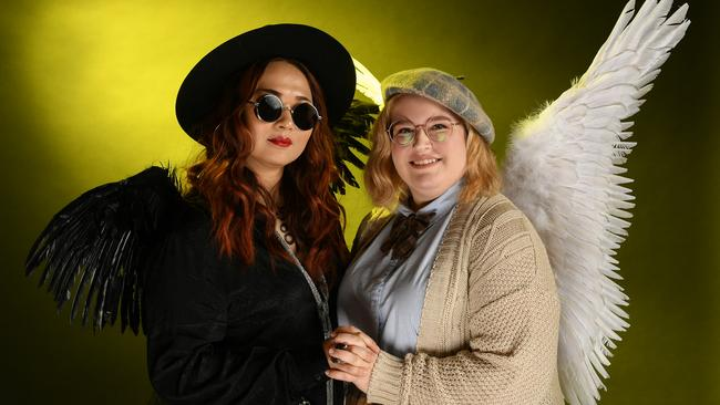 Cosplayers dressed up as Good Omens characters at New York Comic Con this year. Picture: Mike Coppola/Getty Images