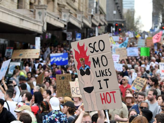 Large crowds march during the The Global Strike 4 Climate rally in Melbourne on Friday, September 20, 2019. Picture: James Ross/AAP