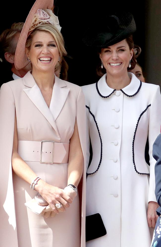 Netherlands' Queen Maxima and Britain's Catherine, Duchess of Cambridge. Picture: Steve Parsons / POOL / AFP