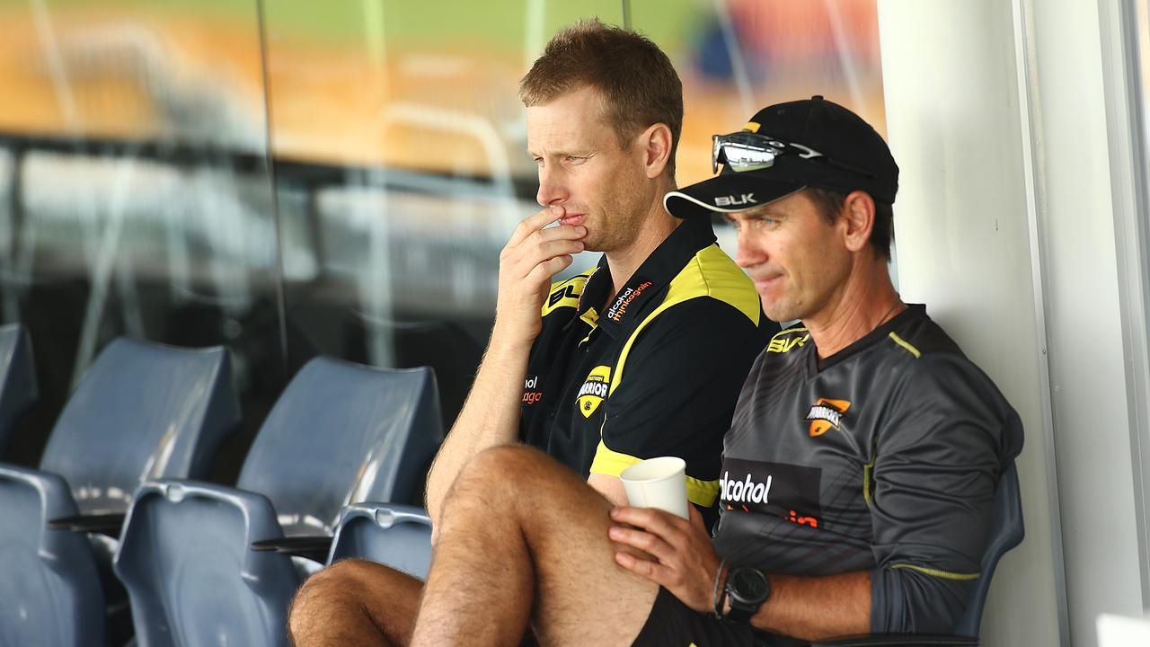 Adam Voges (pictured with Justin Langer) has set his sights on guiding Western Australia to Sheffield Shield glory.