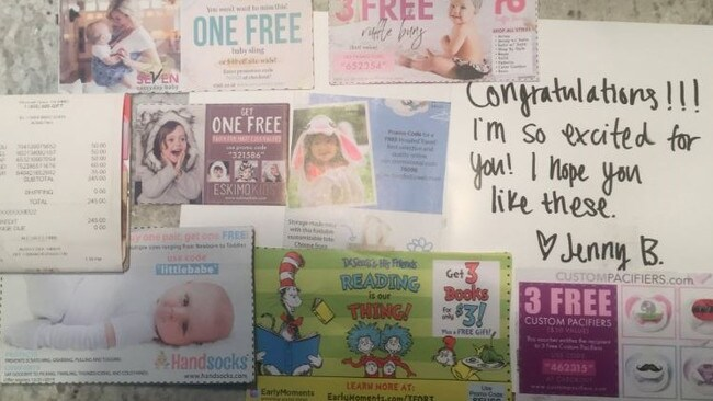 The card said 'congratulations' and contained a range of baby-related coupons.