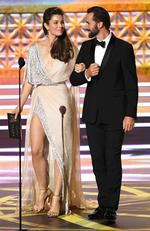 Jessica Biel and Joseph Fiennes speak onstage during the 69th Annual Primetime Emmy Awards at Microsoft Theater on September 17, 2017 in Los Angeles, California. Picture: Getty