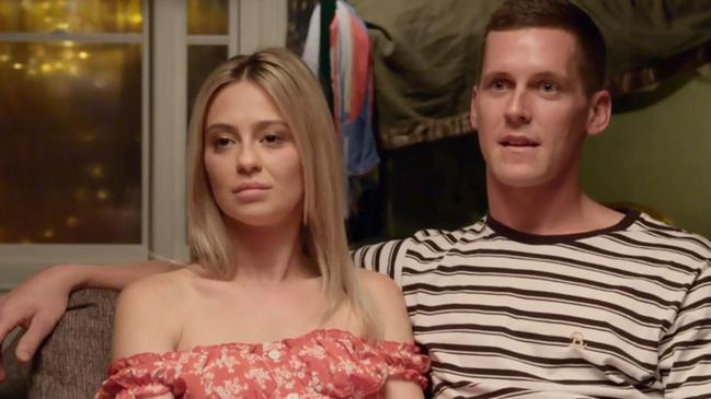 Tess and Luke had a tough time with the first challenge on The Block for 2019, struggling to find anything positive to say about their unfinished guest bedroom. Picture: The Block