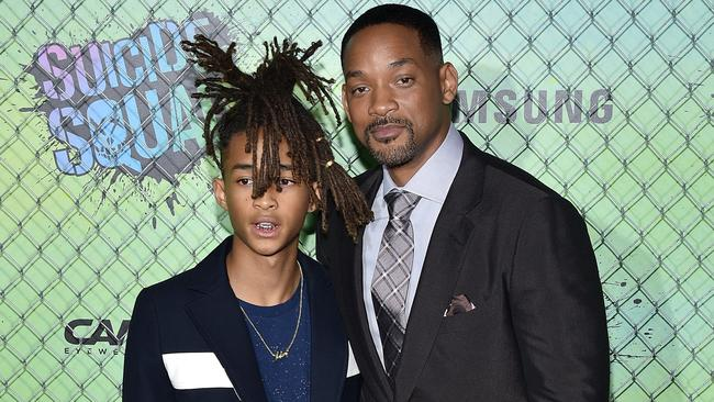 Will Smith with his son Jaden at the Suicide Squad premiere earlier today. Picture: Bryan Bedder/Getty Images for Carrera