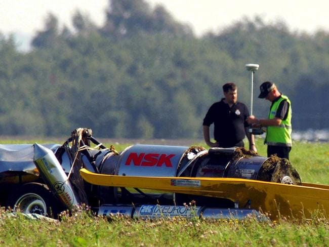 The wreckage of the Vampire jet powered car which former British Top Gear TV presenter Richard Hammond was driving when he crashed at high speed at RAF Elvington in 2006. Picture: Paul Kingston/EPA