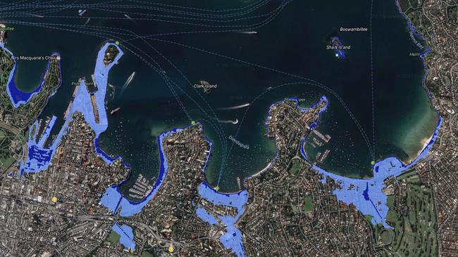 Maps showing sea level rise risk in Sydney's Eastern Suburbs. Much of the city's naval base would be underwater.
