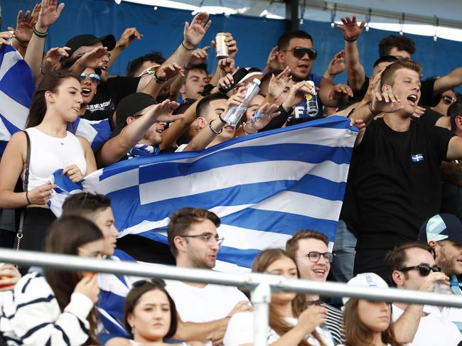 Greek fans show their support towards Maria Sakkari of Greece. Picture: Daniel Pockett/Getty Images.