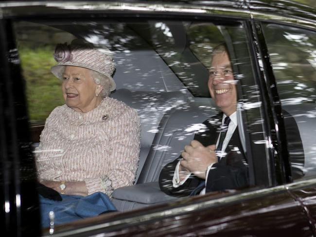 Britain's Queen Elizabeth II, left, and Prince Andrew, the Duke of York leave Crathie Kirk, after a Sunday morning church service. Picture: Jane Barlow/PA via AP