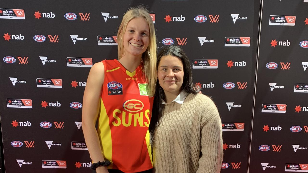 Gold Coast's Serene Watson with partner Madison Prespakis after being selected by the Suns with Pick 18 in the 2019 AFL Women's Draft. Photo: Supplied