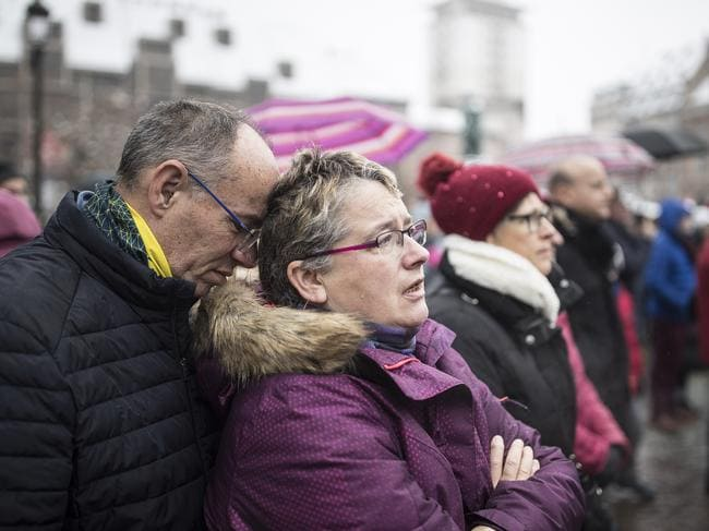 Mourners spontaneously burst into a rendition of the Marseillaise, France's national anthem, during the vigil. Picture: AP