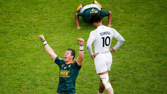 South Africa celebrate winning the Paris Sevens final against England.