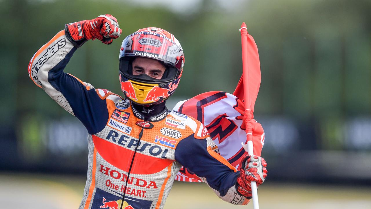 Marquez celebrating — the most consistent sight this decade.