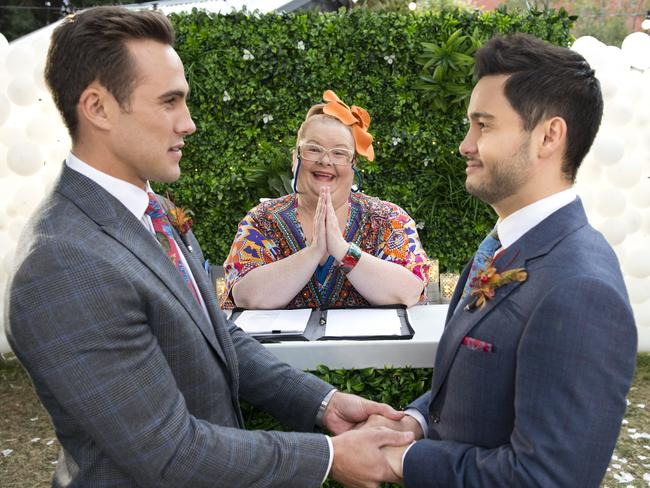 A scene from last night's historic episode of  <i>Neighbours</i>. Picture: Channel 10.