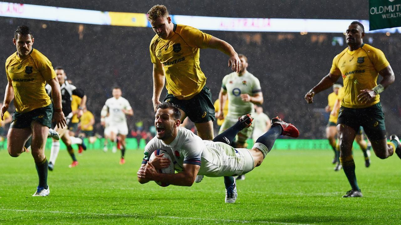 Danny Care of England scores a try at Twickenham.