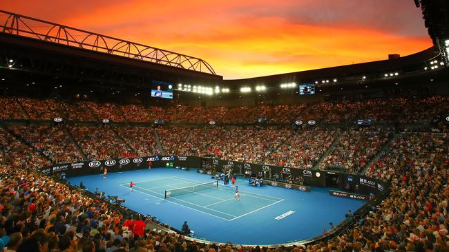 A view inside Rod Laver Arena at sunset during the Men's Singles Final match between Novak Djokovic of Serbia and Rafael Nadal of Spain during day 14 of the 2019 Australian Open. Picture: Scott Barbour/Getty Images