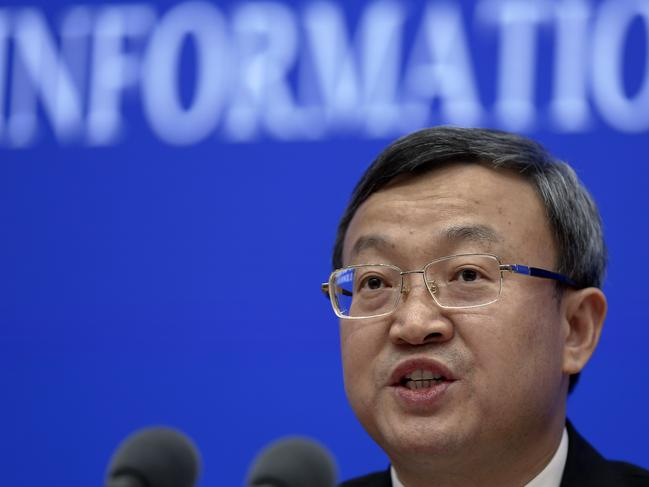 Chinese Vice Minister of Commerce Wang Shouwen during a press conference about China-US Trade issues at the State Council Information Office in Beijing. Picture: AP