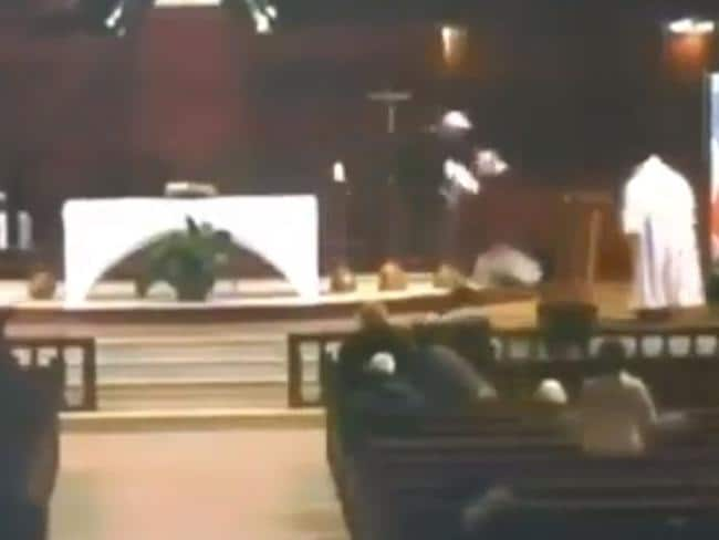 He is seen chasing after the priest.