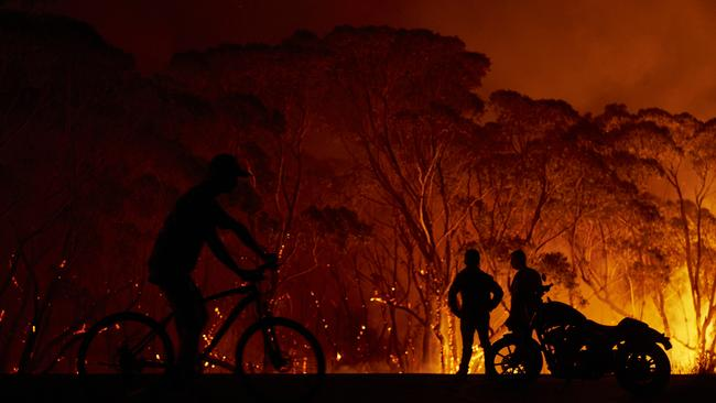 Fire burning at Lake Tabourie on the South Coast. Picture: Brett Hemmings/Getty Images.