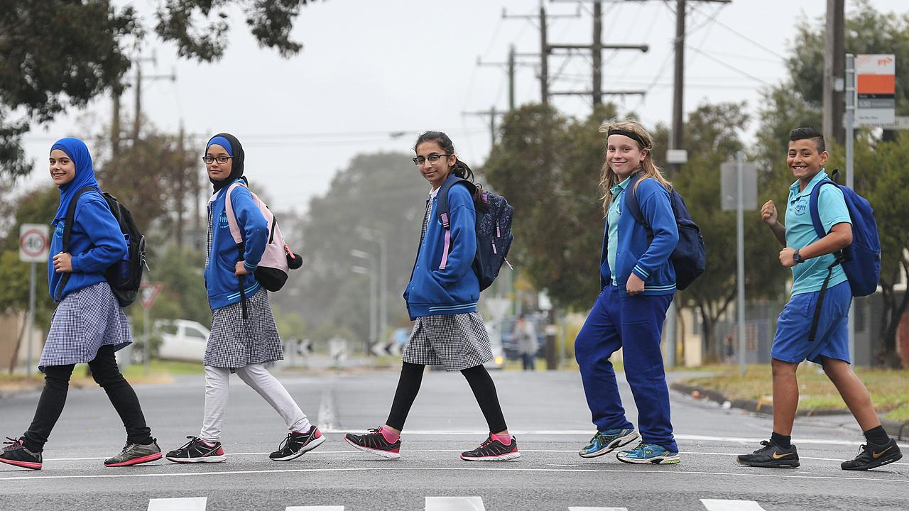 Grade 6 students Aya, Alinar, Faliha, Jude and Logan from Fawkner Primary School. Picture: Ian Currie