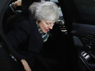 Theresa May's tricky exit. Image: Getty.