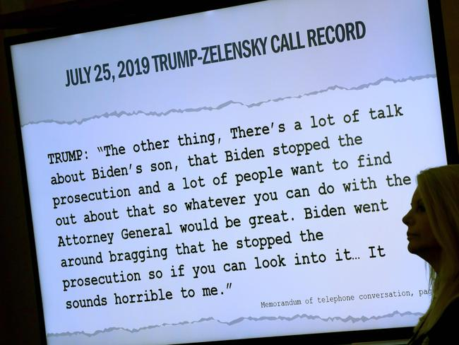 A transcript of a phone call between Donald Trump and Ukrainian President Volodymyr Zelensky is shown during the impeachment inquiry. Picture: Getty Images