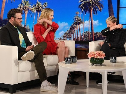 Charlize Theron shows Ellen DeGeneres and Seth Rogen how she made out with herself. Picture: Supplied