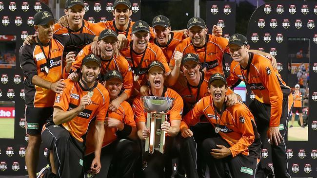 The Scorchers celebrate winning the Big Bash League.