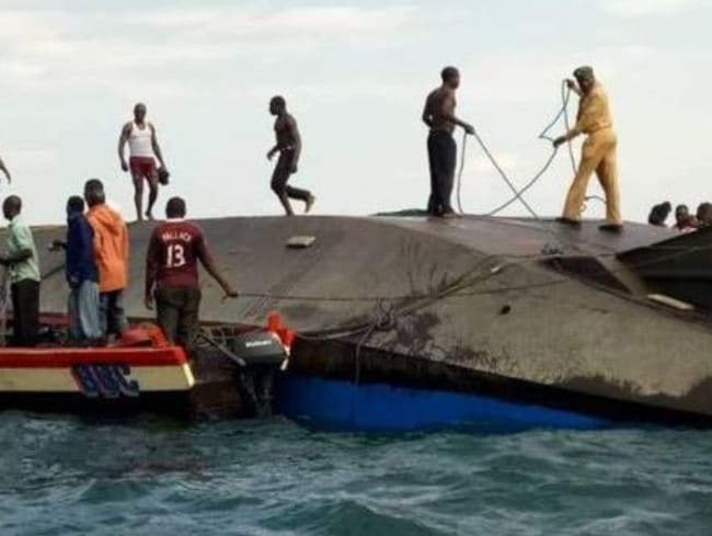 Hundreds are feared dead in the ferry capsize in Tanzania's Lake Victoria. Picture: Twitter