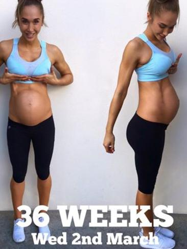 Chontel at the 36-week mark (with 28 days to go).